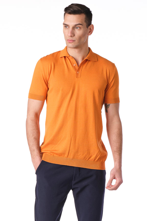 KNITTED POLO Shirt - ORANGE - Ron Tomson
