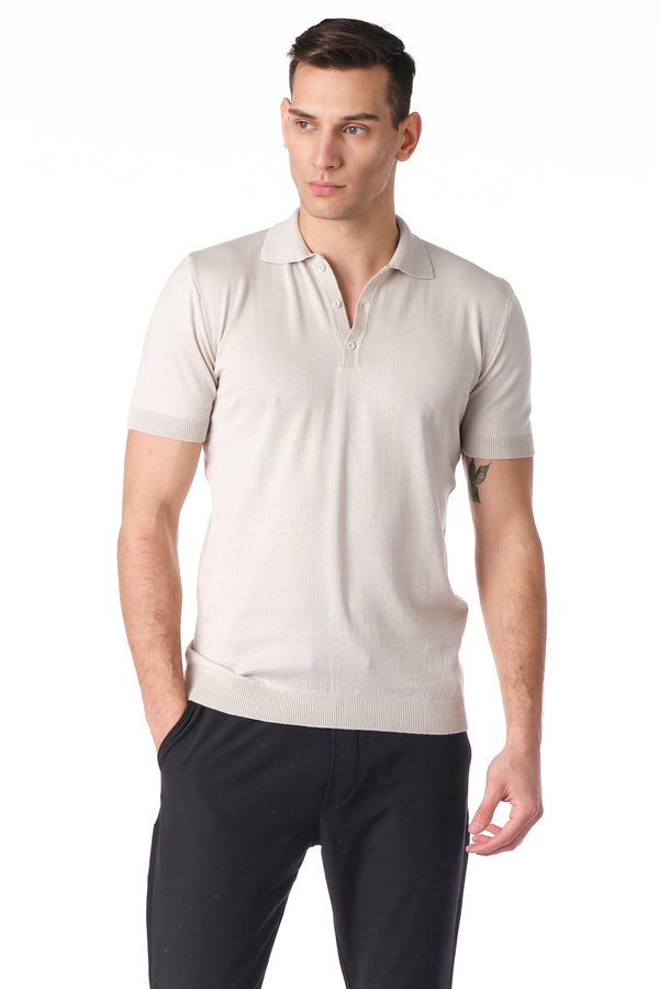 KNITTED POLO Shirt - STONE - Ron Tomson
