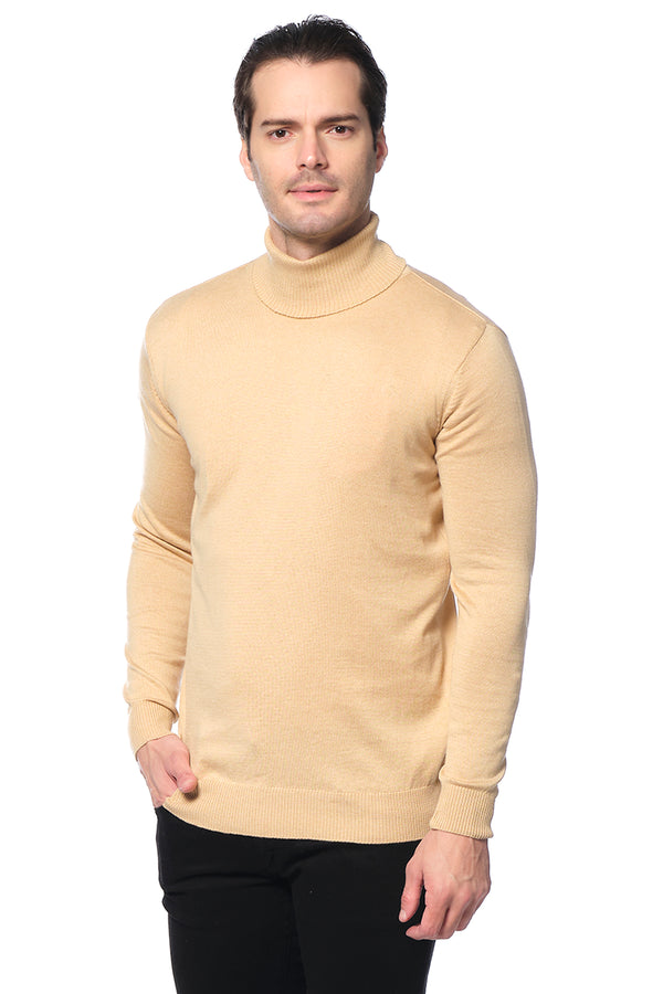 ROLLNECK SWEATER CAMEL - Ron Tomson