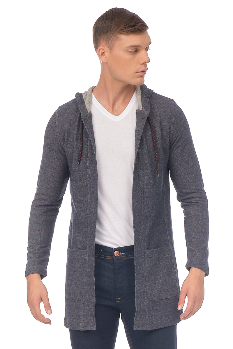 Hooded Textured Blend Cardigan - Navy - Ron Tomson