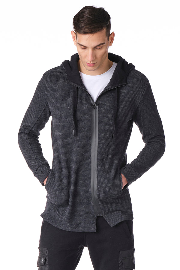 Asymmetrical Athletic Cardigan - ANTHRACITE - Ron Tomson