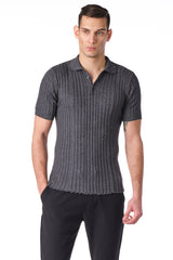 Ribbed S/S Polo - Anthracite - Ron Tomson