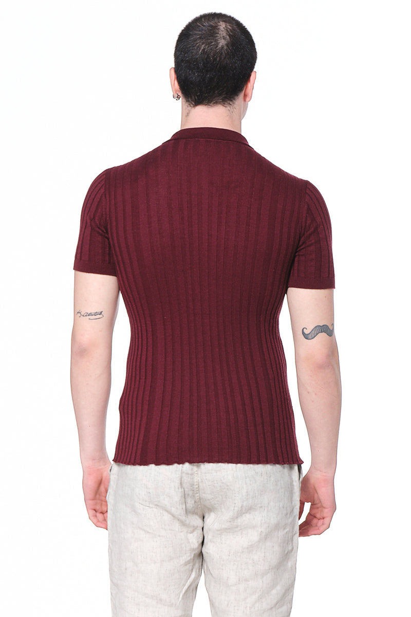 Ribbed S/S Polo - Burgundy - Ron Tomson