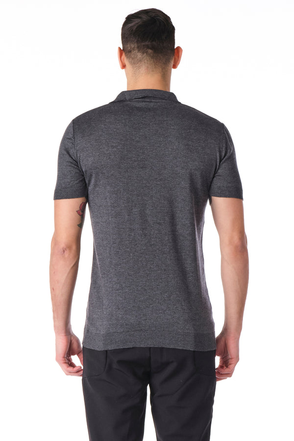 Contrast Trimmed Polo - Anthracite - Ron Tomson