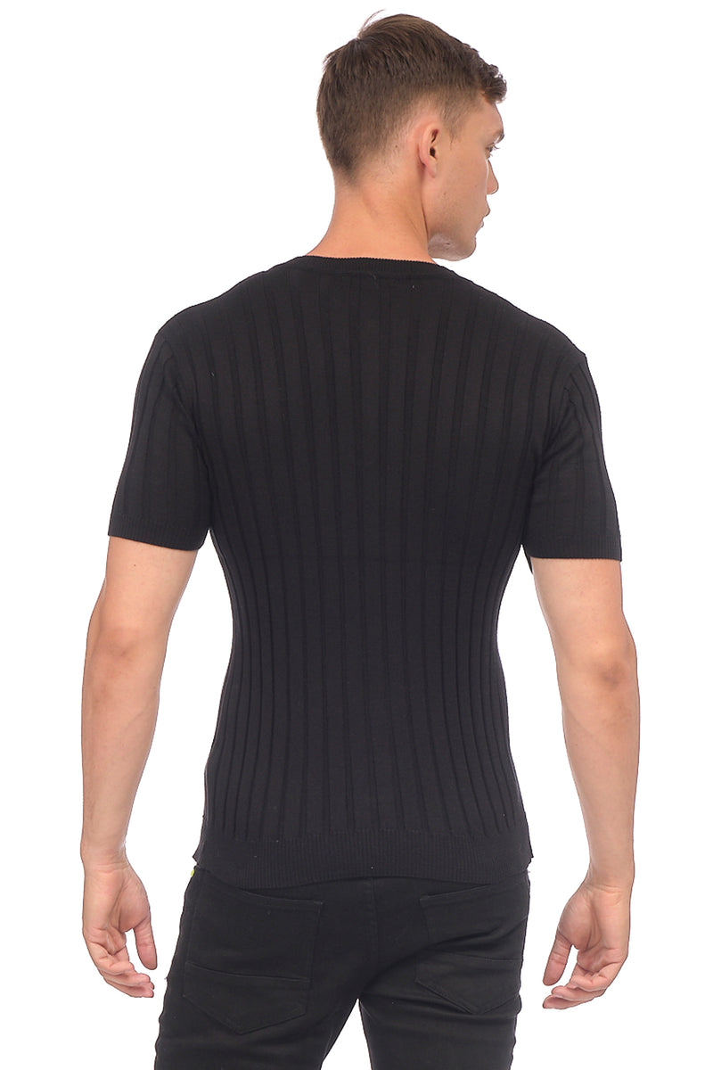 Muscle Fit Ribbed Knit Shirt - BLACK - Ron Tomson