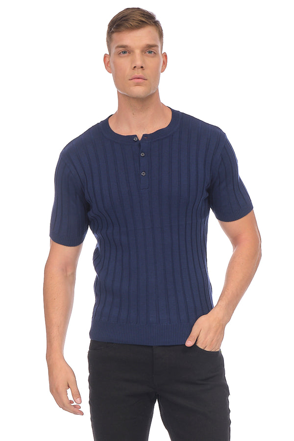 Muscle Fit Ribbed Knit Shirt - DARK NAVY - Ron Tomson