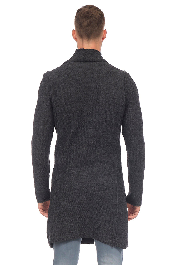 Asymmetrical Hidden Placket Button Closure Cardigan - ANTHRACITE BLACK - Ron Tomson