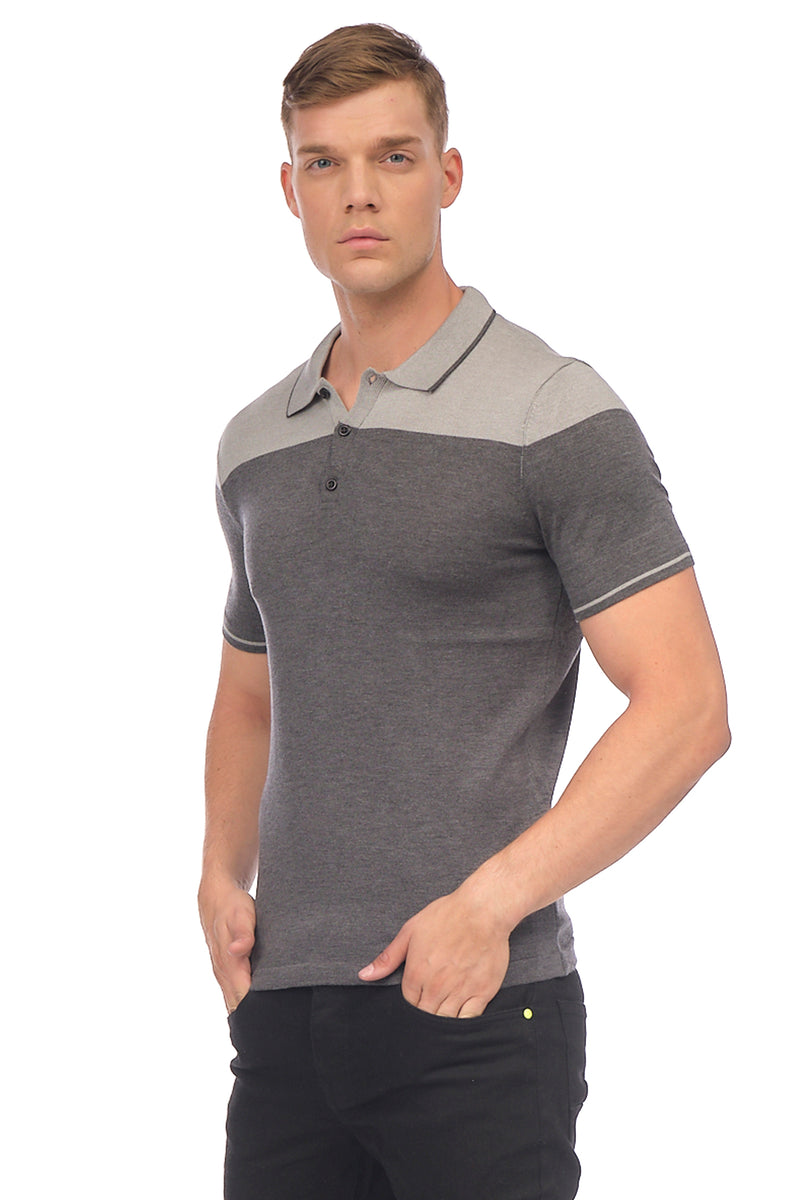 Two Color Polo Shirt - Anthracite Grey - Ron Tomson