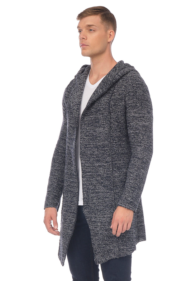 JK Stealth Hoody Cardigan - NAVY WHITE - Ron Tomson