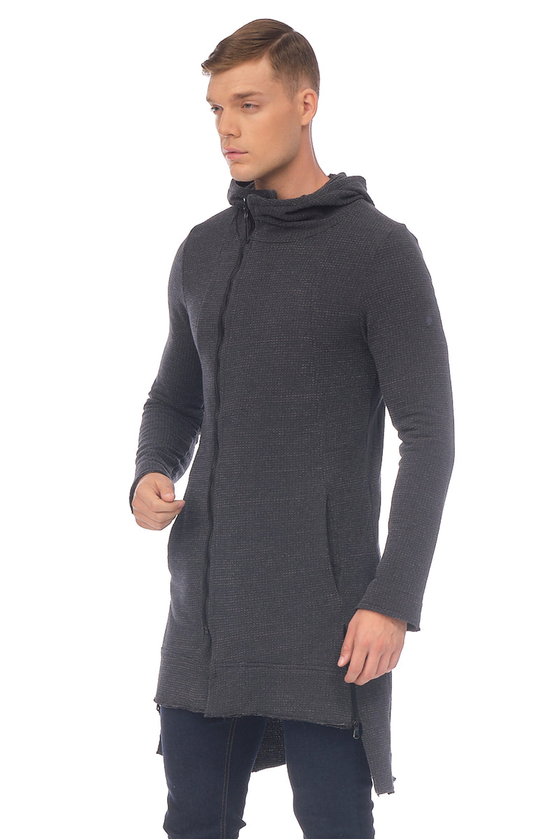 Longline Tech Zip Closure Pique Cardigan - ANTHRACITE - Ron Tomson