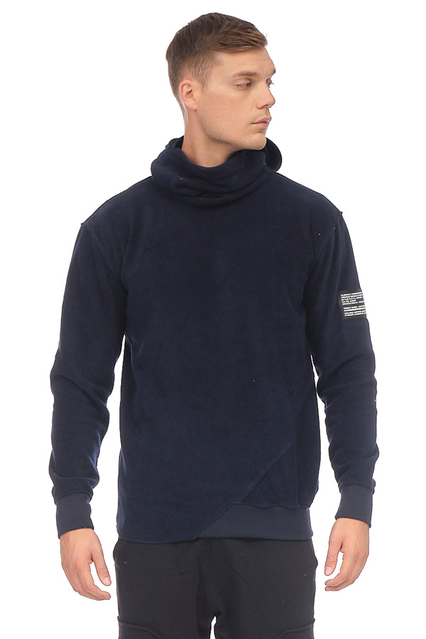 Face Covering Pocket Front Polar Hoodie - NAVY - Ron Tomson