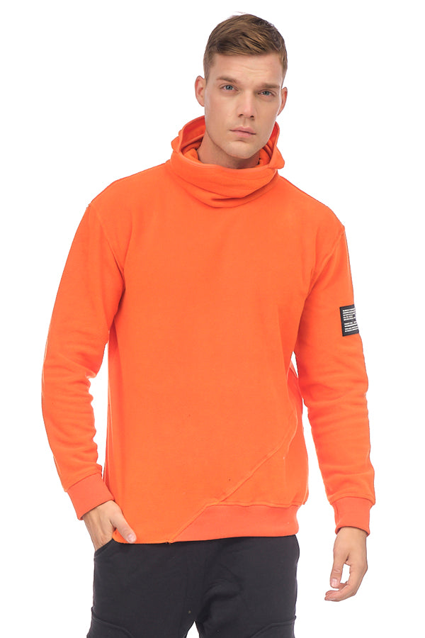 Face Covering Pocket Front Polar Hoodie - ORANGE - Ron Tomson