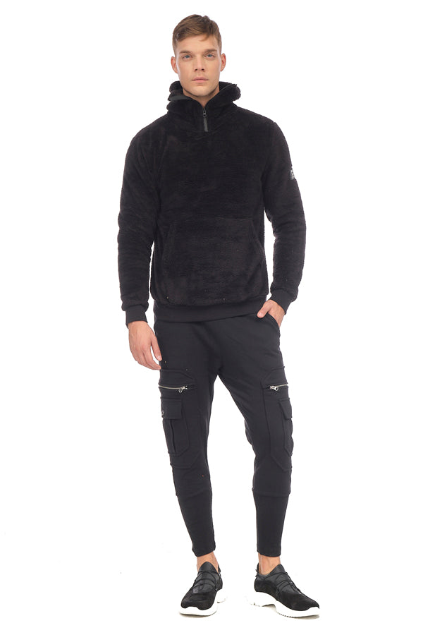 Face Covering Zipper Front Teddy Hoodie - BLACK - Ron Tomson