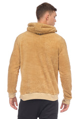 Face Covering Zipper Front Teddy Hoodie - CAMEL - Ron Tomson