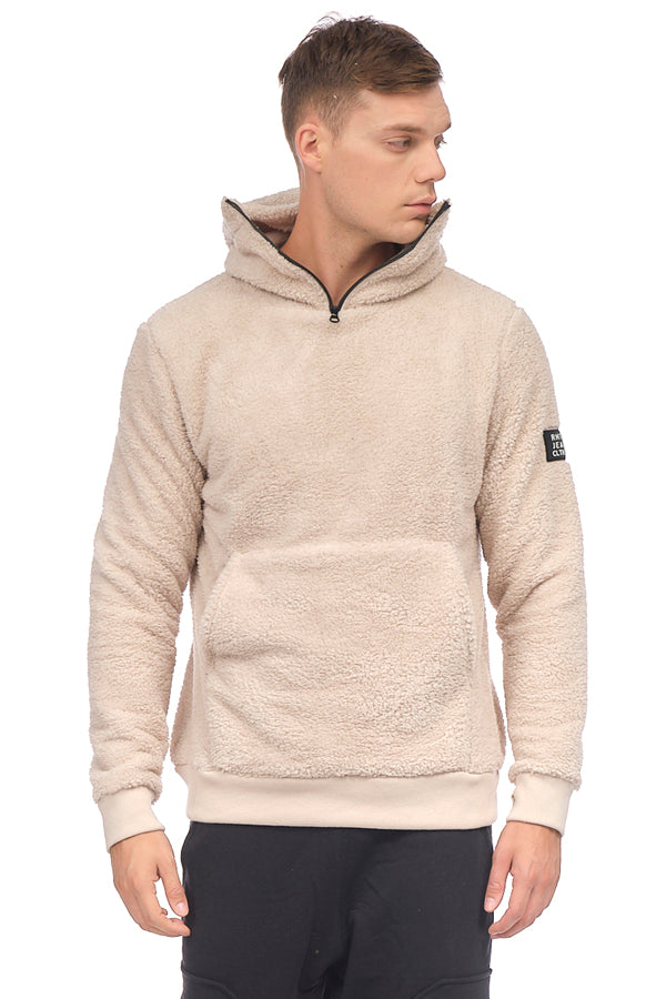 Face Covering Zipper Front Teddy Hoodie - STONE - Ron Tomson
