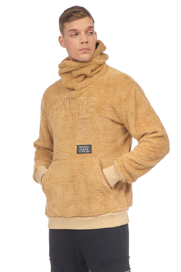 Face Covering Pocket Front Teddy Hoodie - CAMEL - Ron Tomson