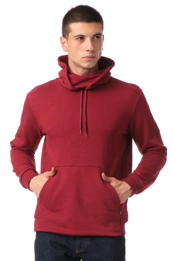 Classic Pullover with Face Covering - BURGUNDY - Ron Tomson