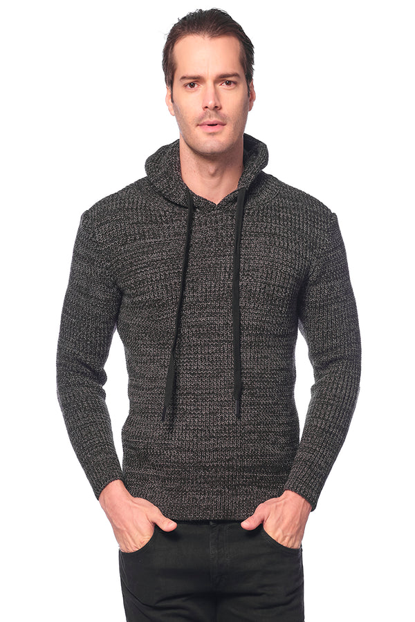 Mr. Snug Hooded knit sweater - BLACK ANTHRACITE - Ron Tomson