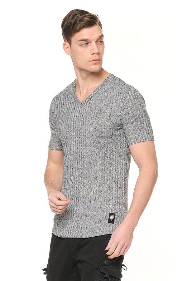V NECK RIBBED MUSCLE KNIT TEE -GREY - Ron Tomson