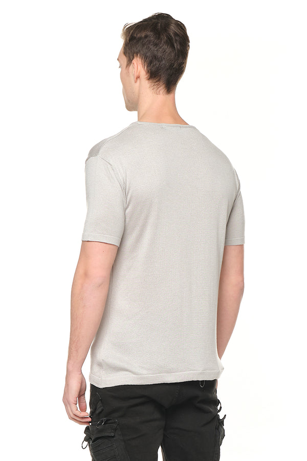 6310-GREY MELANGE KNITTED T-SHIRTS - Ron Tomson