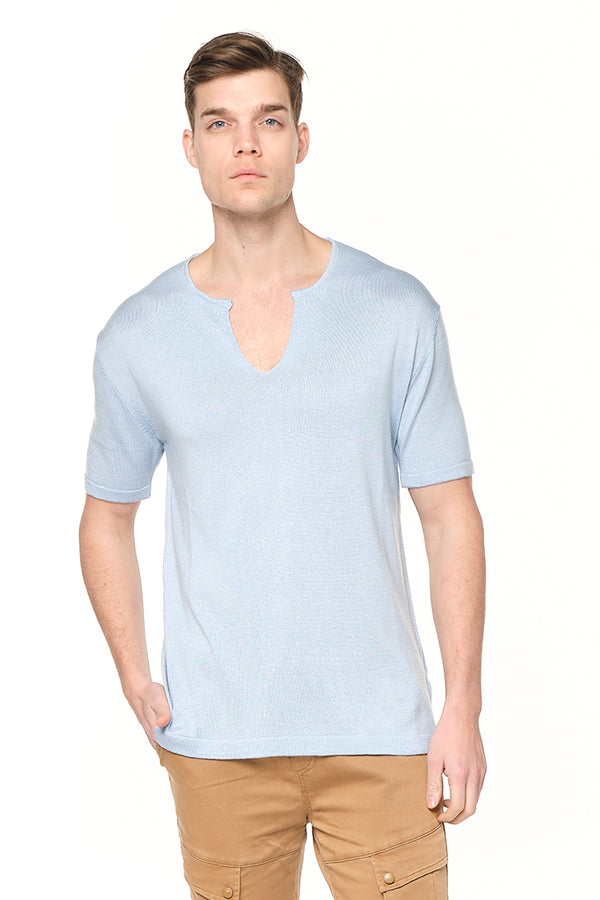6310-LIGHT BLUE KNITTED T-SHIRTS - Ron Tomson