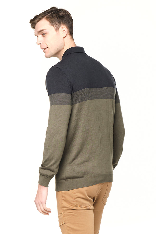 6312-KHAKI NAVY KNITTED POLO T-SHIRTS - Ron Tomson