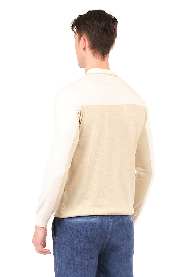 6316-BEIGE WHITE KNITTED SHIRT - Ron Tomson
