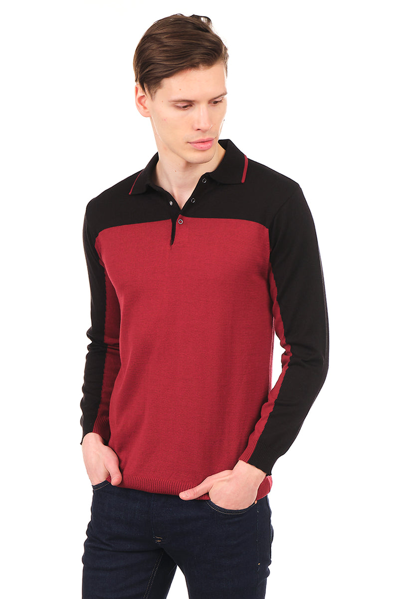 6316-BORDEAUX BLACK KNITTED SHIRT - Ron Tomson