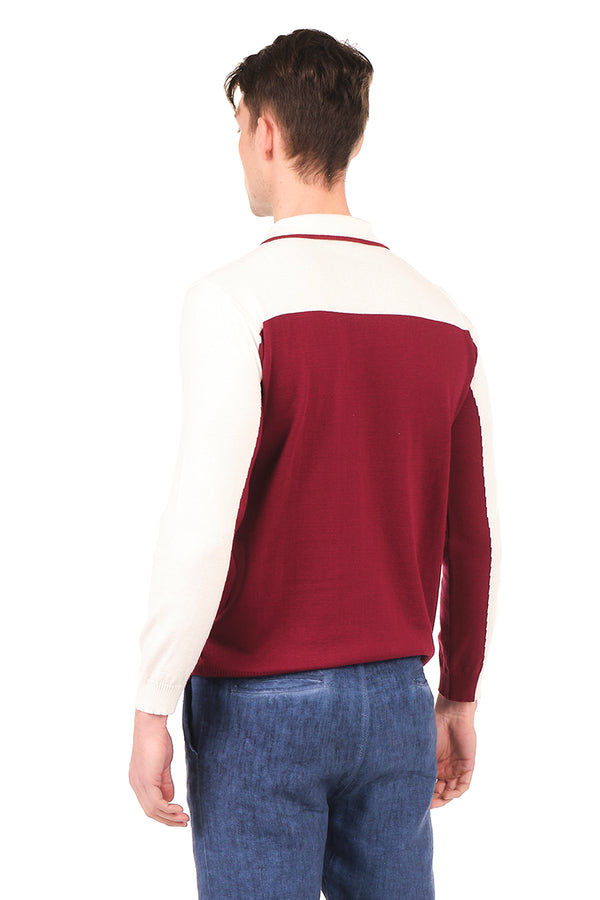 6316-BORDEAUX WHITE KNITTED SHIRT - Ron Tomson