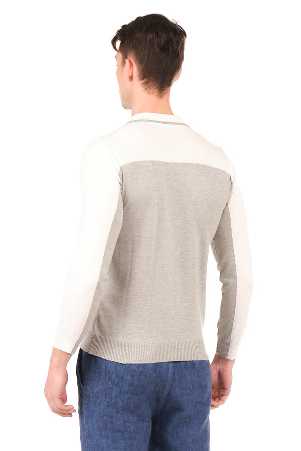 6316-GREY WHITE KNITTED SHIRT - Ron Tomson