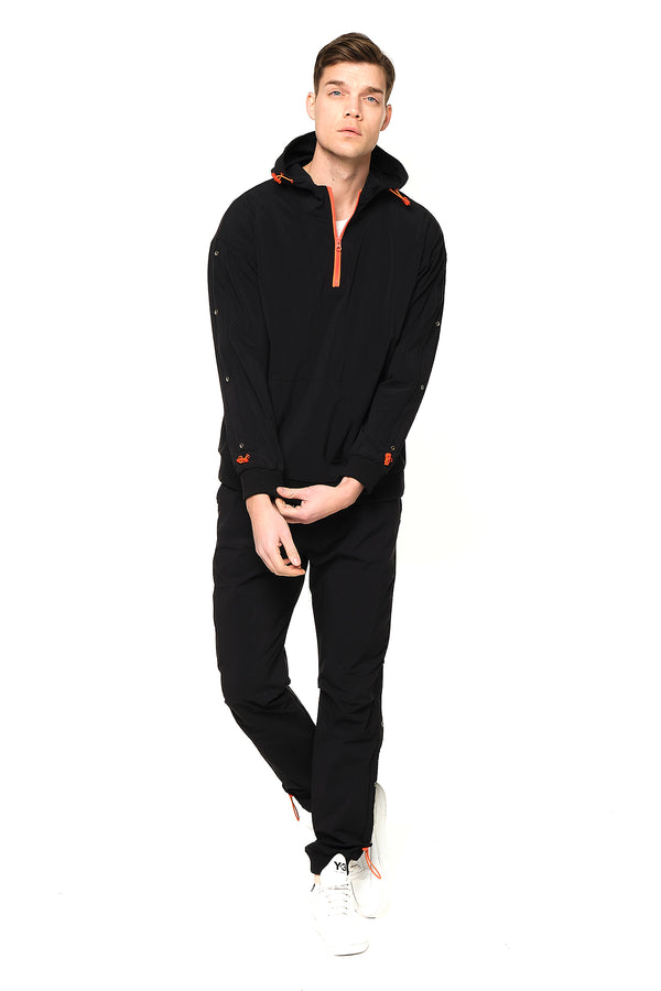 Eyelet Sweat Zip Hoodie - BLACK - Ron Tomson