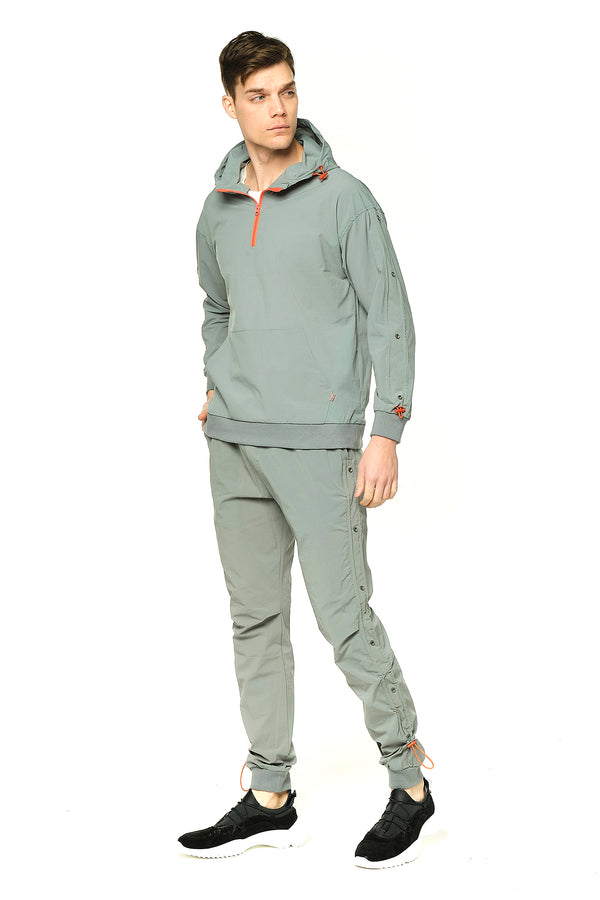 Eyelet Sweat Zip Hoodie - Sage Green - Ron Tomson