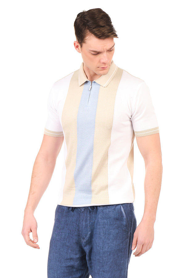 6335-ECRU BEIGE BLUE KNITTED POLO T-SHIRT - Ron Tomson