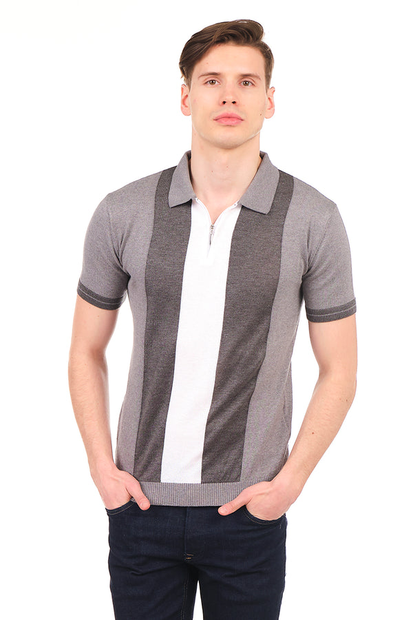 6335-GREY ANTRASIT ECRU KNITTED POLO T-SHIRT - Ron Tomson