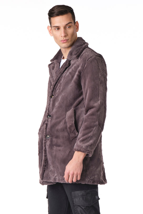 CLASSIC LONG TEDDY COAT II - ANTHRACITE