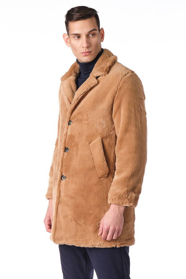 CLASSIC LONG TEDDY COAT II -CAMEL