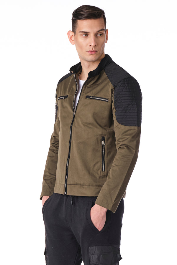 Moto Full Zip Windbreaker Bomber Jacket - KHAKI - Ron Tomson