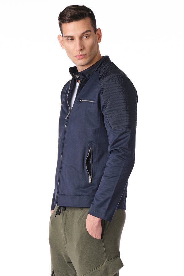 Moto Full Zip Windbreaker Bomber Jacket - NAVY - Ron Tomson