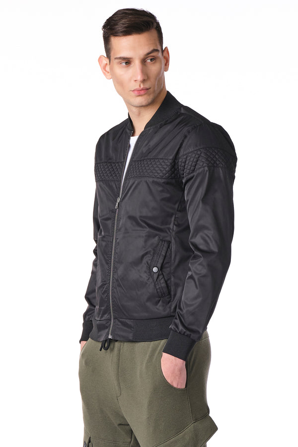Quilted Full Zip Windbreaker Bomber Jacket -BLACK - Ron Tomson