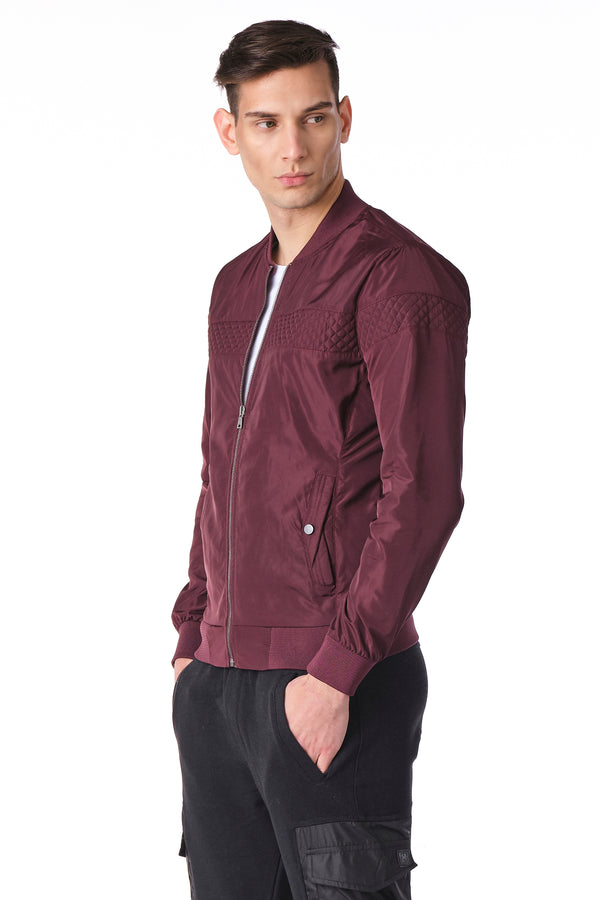 Quilted Full Zip Windbreaker Bomber Jacket - BORDEAUX - Ron Tomson