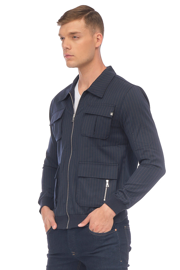 Pinstriped Utility Jacket - Navy Mustard - Ron Tomson