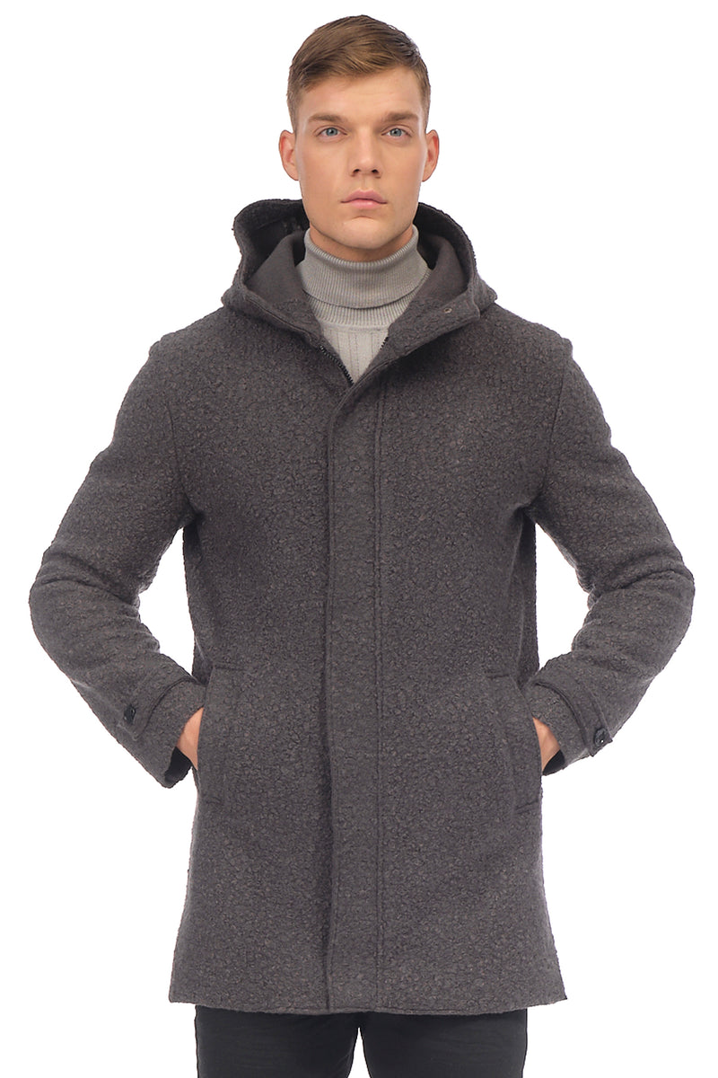 Grunge Hood Boucle Coat Unquilted - ANTHRACITE - Ron Tomson