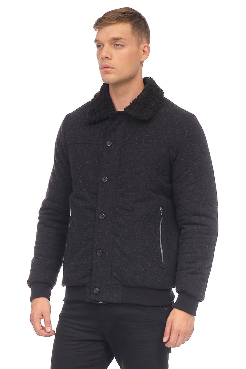Winter Sherpa Bomber Jacket - BLACK - Ron Tomson