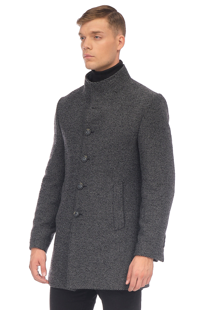 Stand Collar Chesterfield Coat - ANTHRACITE - Ron Tomson