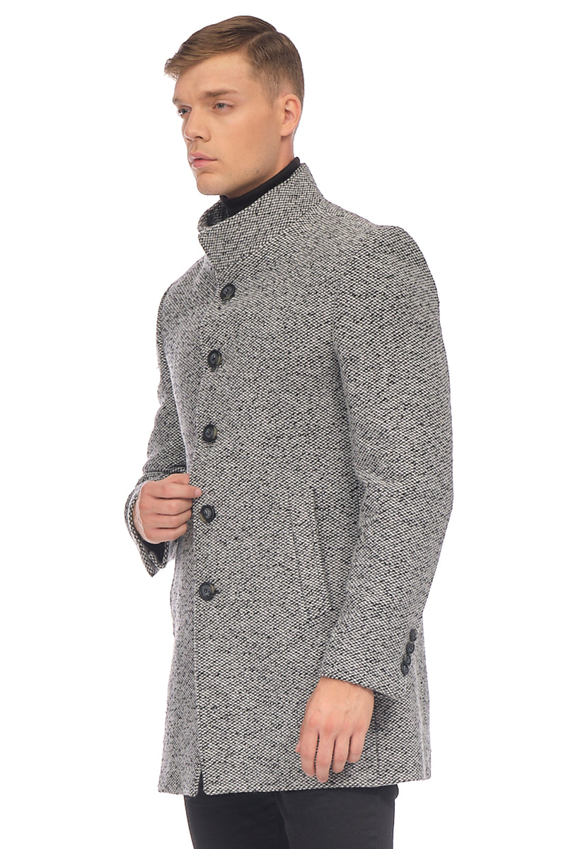 Stand Collar Chesterfield Coat - BLACK WHITE - Ron Tomson