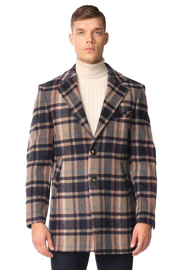 Chesterfield Plaided Coat - NAVY ECRU - Ron Tomson