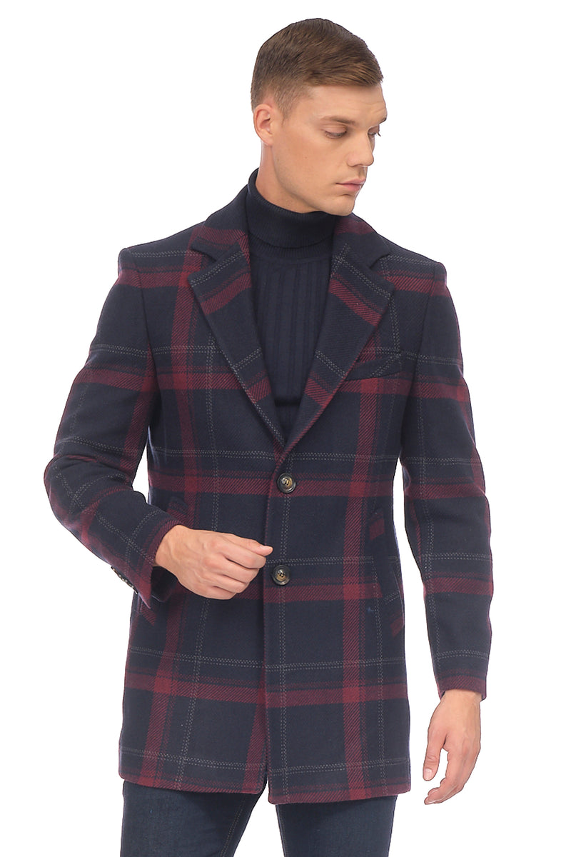 Chesterfield Plaided Coat - NAVY - Ron Tomson