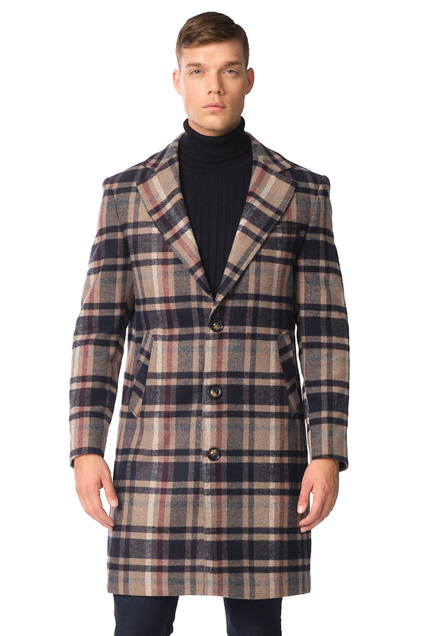 Longline Chesterfield Plaided Coat - NAVY ECRU - Ron Tomson