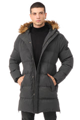 Faux Fur Padded Parka - BLACK - Ron Tomson