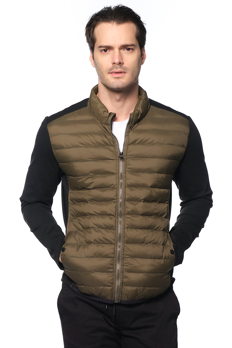 Quilted microfiber Neoprene sleeve wind Jacket - BLACK KHAKI - Ron Tomson